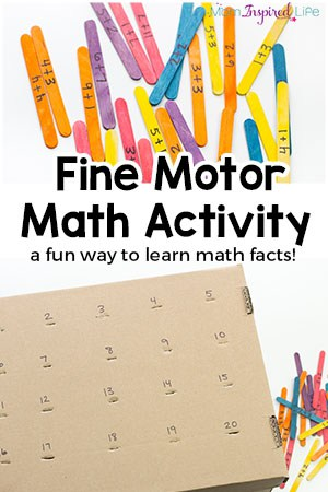 Fine Motor Math Facts Activity in a Cardboard Box