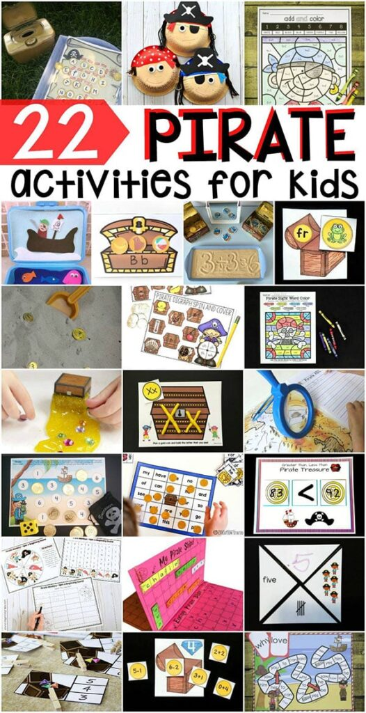 Pirate activities for kids. Pirate theme lesson plan ideas.
