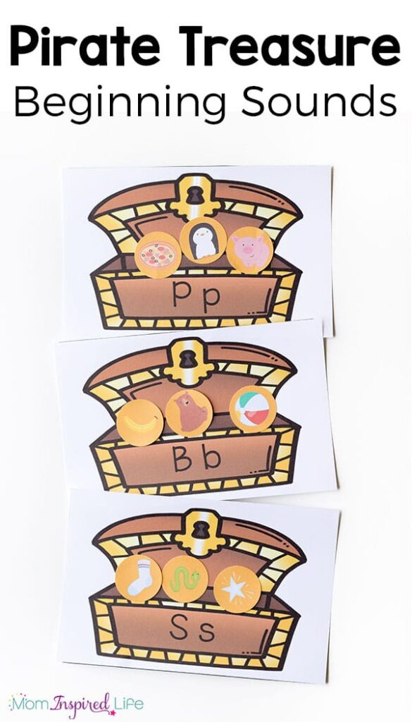 Pirate treasure beginning sounds activity! A fun pirate themed literacy activity for preschool and kindergarten.
