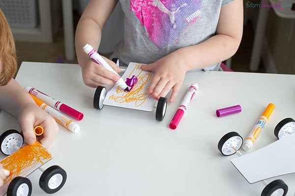 Making balloon cars with kids.