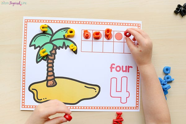 Summer or back to school counting mats for preschool and kindergarten.