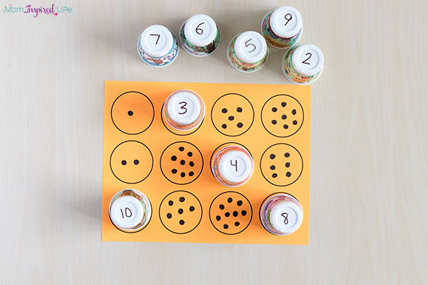 A hands-on preschool math activity that's super simple to set up.