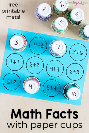 Math facts activity with printable mats. A hands-on way to teach math facts.