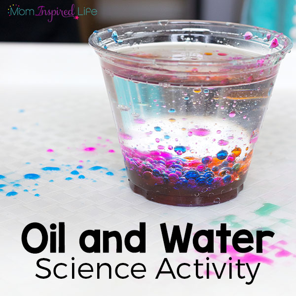 Explore that oil and water don't mix. A science experiment for young kids.