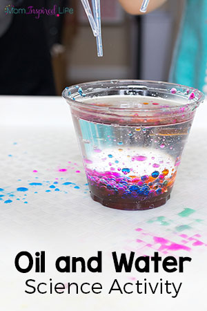 This oil and water science exploration is a fun science experiment for preschoolers and kids in early elementary.