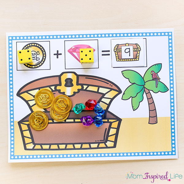 Pirate treasure addition mats that teaches addition facts to kids.