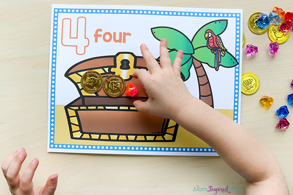 A hands-on math activity for a pirate theme.