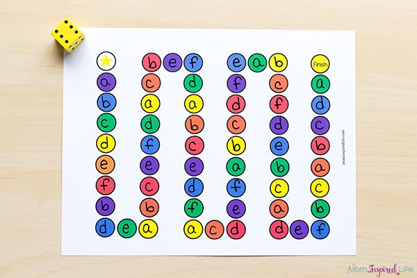 A fun printable alphabet board game.
