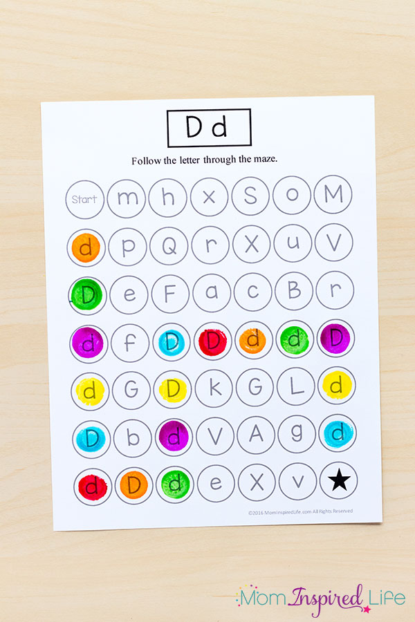 Printable dot the letter alphabet maze.