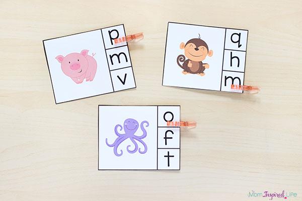 Beginning sounds alphabet clip cards.