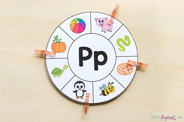 Beginning sounds clip card wheels. A fun printable alphabet activity.