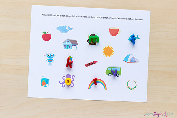 Beginning sounds alphabet mats printable for learning letters in a hands-on way.