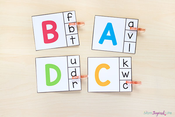 Alphabet clip cards for learning the alphabet and developing fine motor skills.