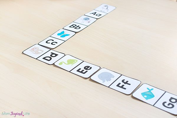 Alphabet dominoes printable activity.
