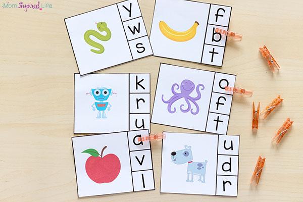Alphabet beginning sounds activity for preschool and kindergarten.