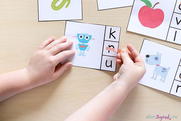 Letter sounds clip cards for preschool and kindergarten literacy activities.