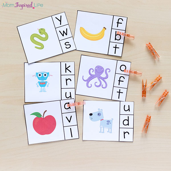 Alphabet clip cards are great for preschool or kindergarten literacy centers.