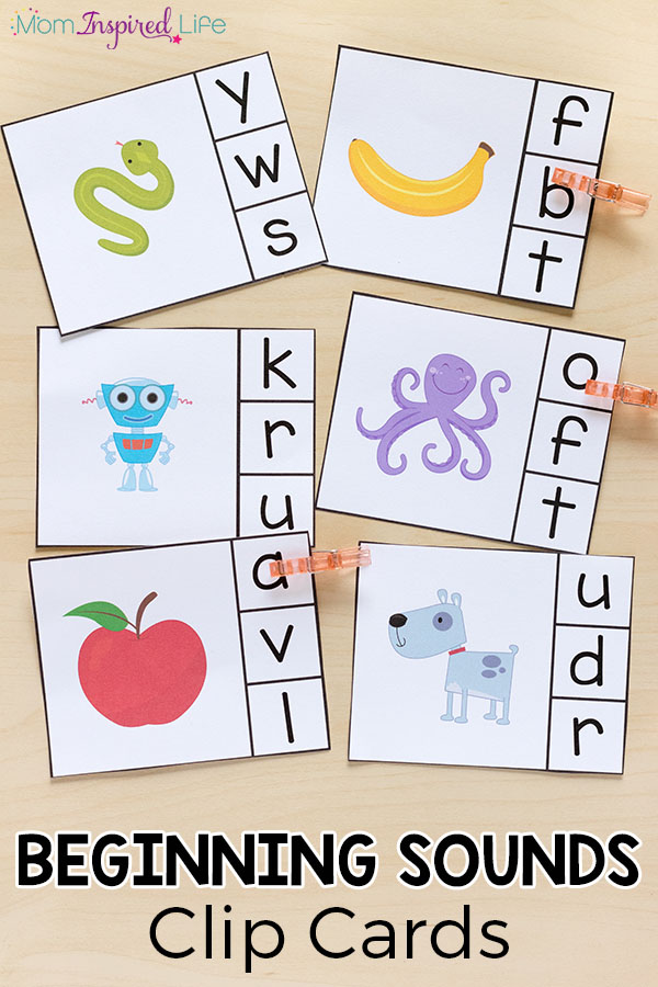 Beginning sounds clip cards help children learn letters, letter sounds and develop fine motor skills. This literacy center idea is perfect for preschool and kindergarten.