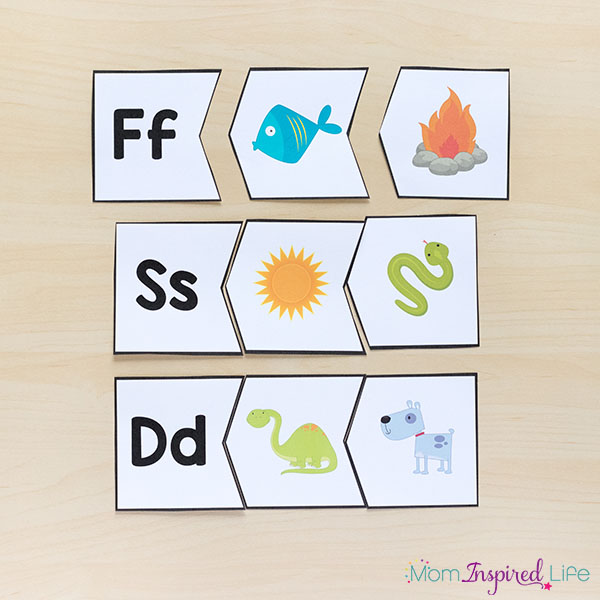 Letter sounds alphabet puzzles for preschool and kindergarten.