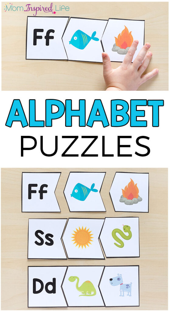 Alphabet puzzle activity for learning letters in preschool and kindergarten.