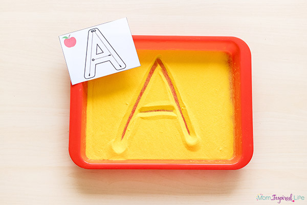 Alphabet formation letter cards and sensory writing tray.