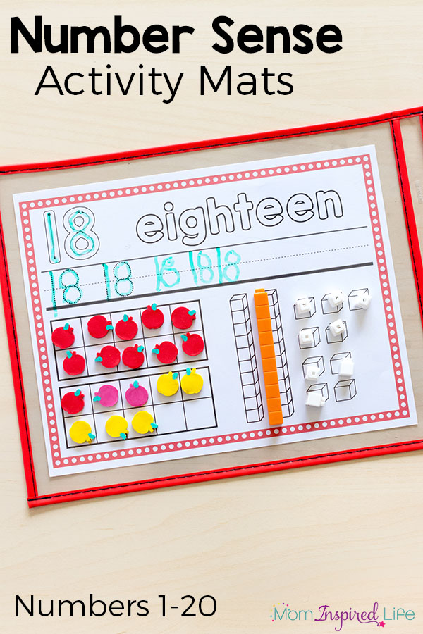 Number sense activity mats for kindergarten and first grade.