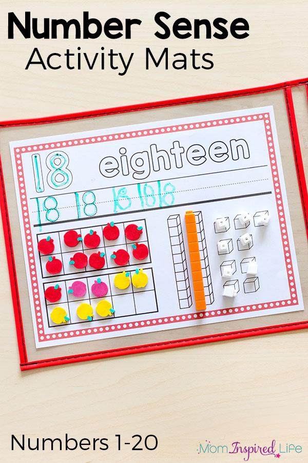 Number sense activity mats for kindergarten and first grade.