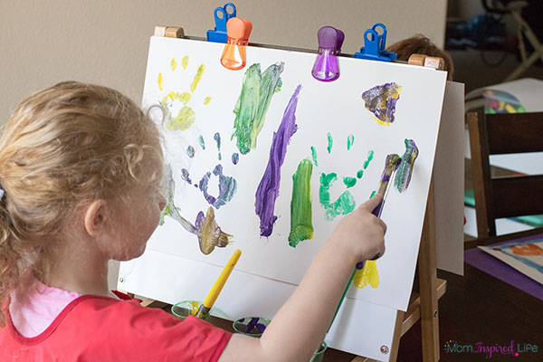 A tabletop easel is perfect for art in a small space.