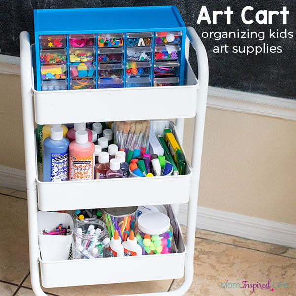 Organizing kids art supplies and creating an inviting art space for kids.