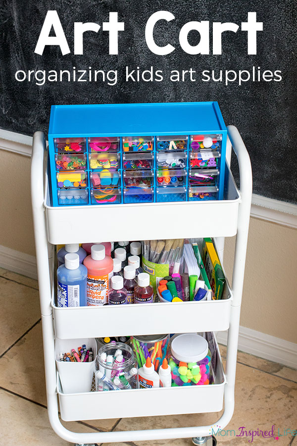 Organizing kids art supplies is easy with this art cart! Find out how I organize our art center and keep everything organized.