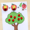 Apple addition mats for kindergarten and first grade. Fall math center that kids will love!