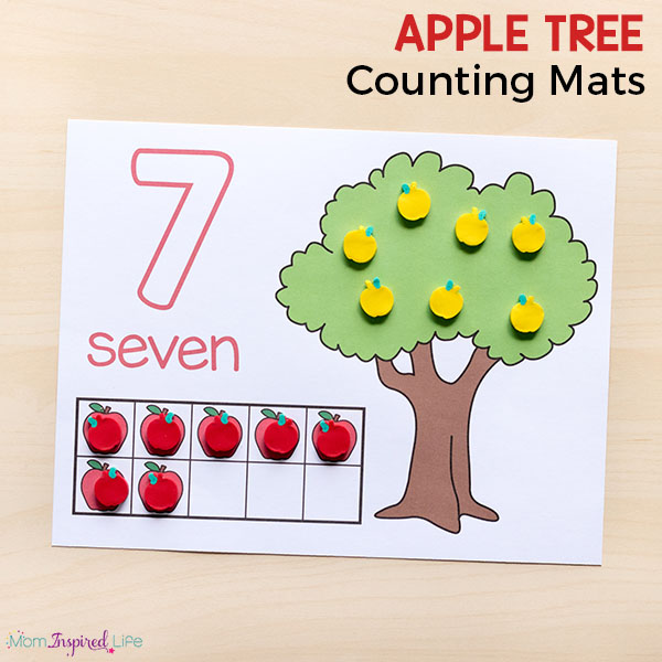 Apple counting mats for preschool and kindergarten. This fall math activity is a hands-on way to learn numbers!