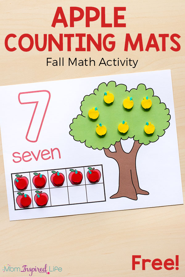 Apple Counting Mats on Fine Motor Skills Activities For Kids