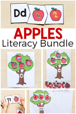 A bundle of fun apple literacy activities for pre-k, kindergarten and first grade.