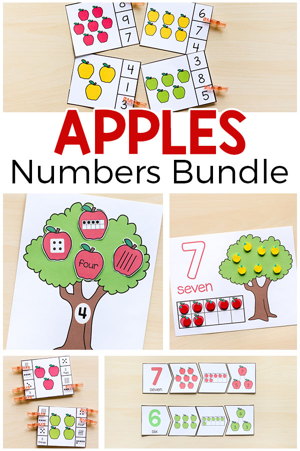 Apple number sense bundle for fall. This is perfect for kids in Pre-K to first grade!