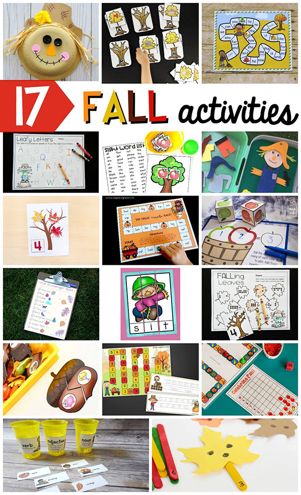 Fall activities for kids in preschool, kindergarten and first grade.