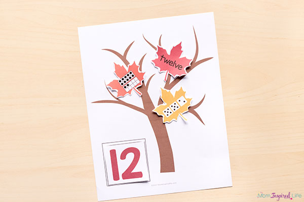 A fall math activity for kindergarten and pre-k.