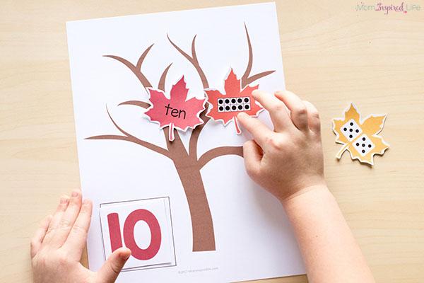 Fall numbers activity for kindergarten and preschool.