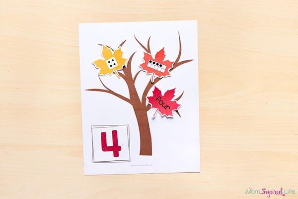 Fall tree number sense activity.