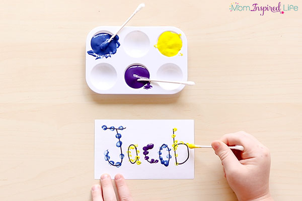 Q-tip painting names fine motor activity. Q-tip painting is a great