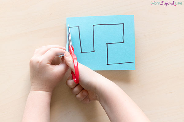 Cutting mazes scissor skills activity that helps young children develop fine motor skills.