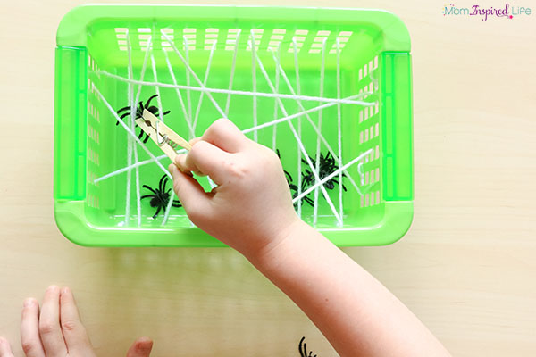 Spider web fine motor activity that kids love!