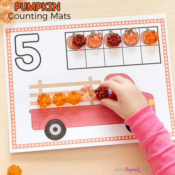 Fall math activity for preschool and kindergarten. A fun way to learn counting and numbers!