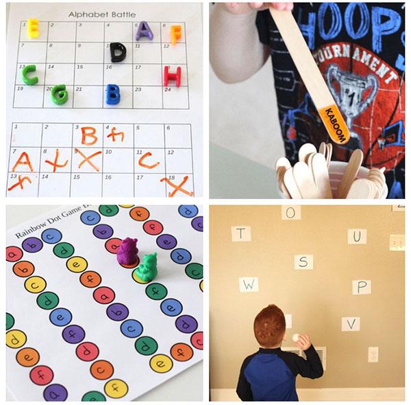 Kindergarten alphabet games for hands-on alphabet learning.