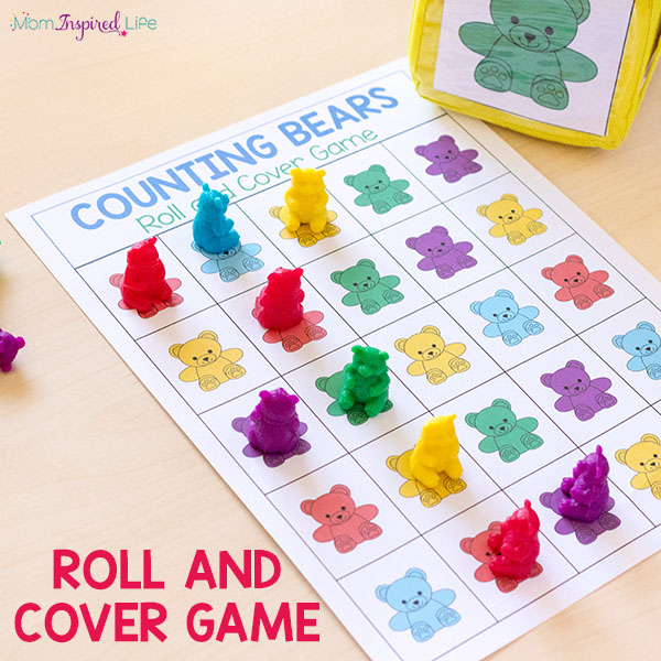 Teddy bear counters roll and cover math game!