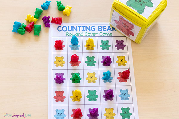 Counting bears math game. A fun, hands-on math activity for kids.