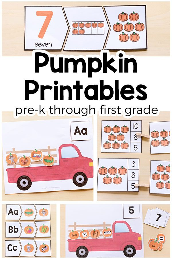 This pumpkin activities printable bundle includes 10 activities that help children learn the alphabet, letter sounds, sight words and word families (rhyming words), numbers and number sense! They are all hands-on and interactive.