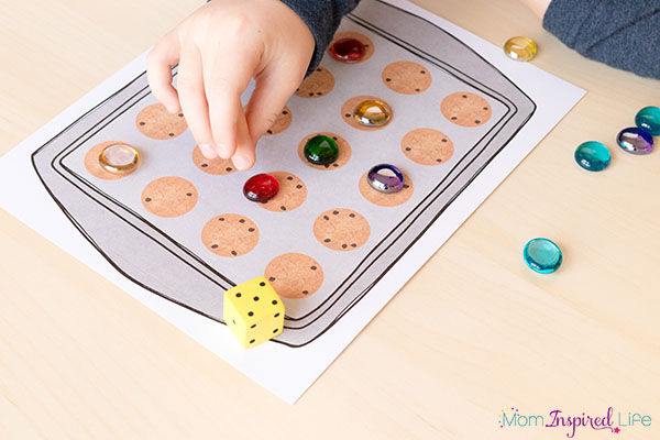 Cookie number sense game for preschool, kindergarten and first grade. A fun numbers game for kids.