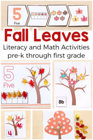 Printable fall leaves and trees activities for preschool, pre-k, kindergarten and first grade. Fun fall activities for kids!