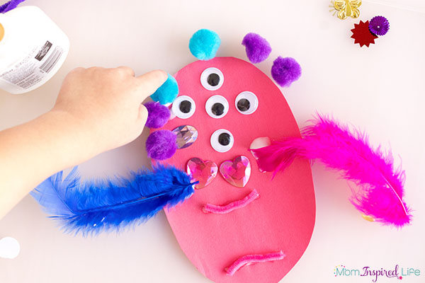 Silly monsters collage art activity and craft for young kids.